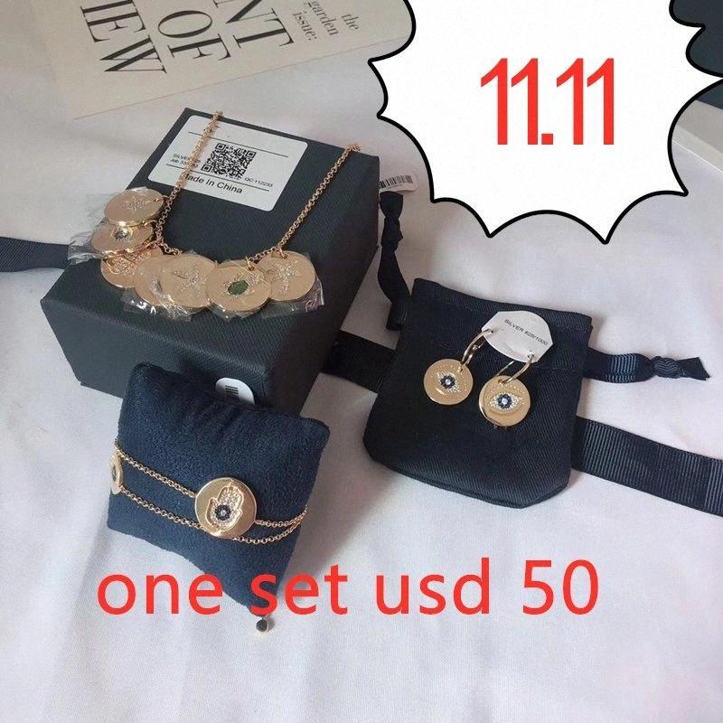 11.11 Lucky Symbol Eye Sea Turtle Star Charm Necklace Hamsa Hand Earring Bracelet Jewelry Set 925 Silver Coin inlay Zircon Women q6Db#