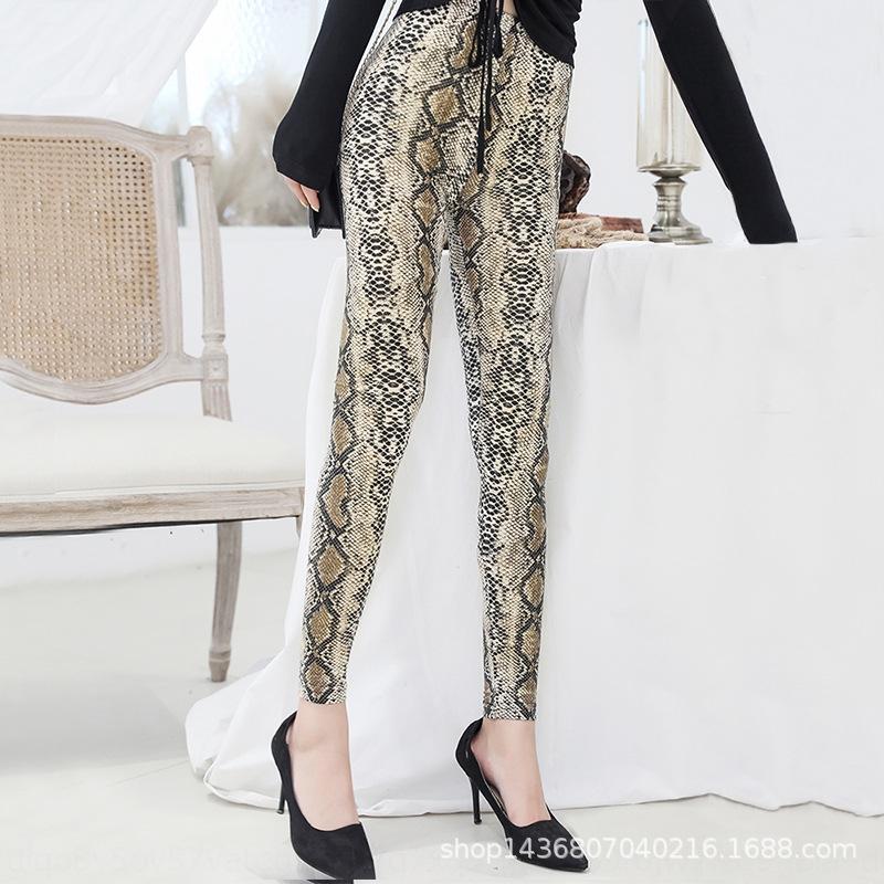 Леопардовый леггинсами женские узкие брюки карандаш плотно pantsKorean тонкий эластичный пояс карандаш брюки леггинсы