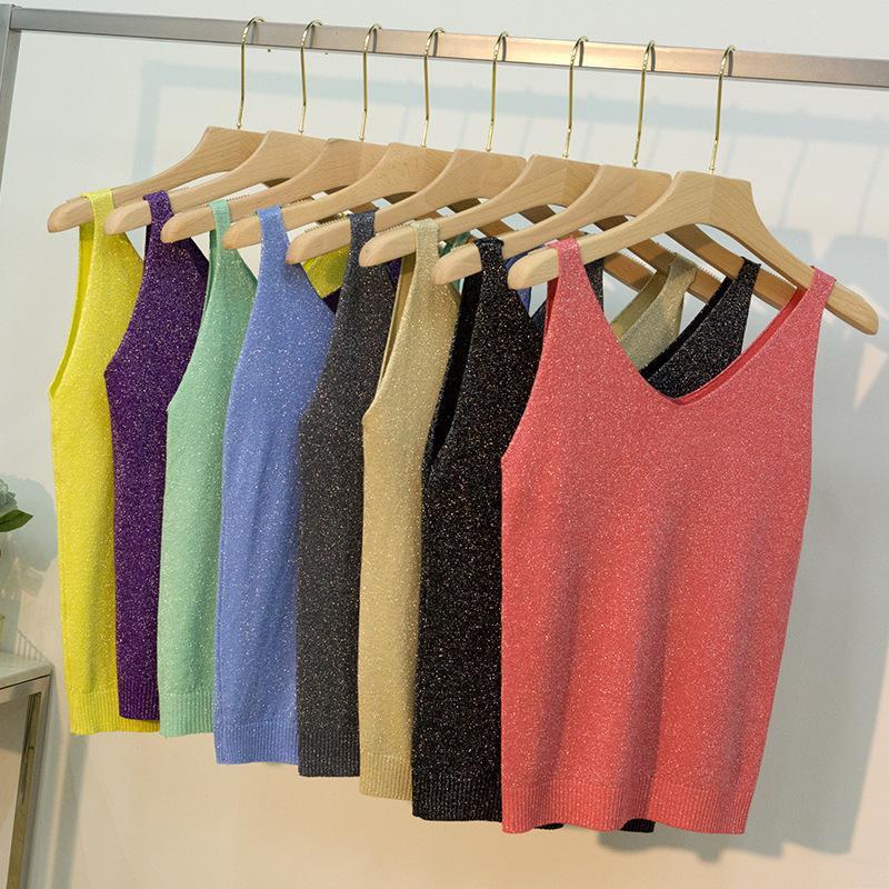18 Farben-Frauen-Sleeveless Trägershirt Sexy Frauen mit V-Ausschnitt Strick Leibchen Club Girls Metallbügel Camis Thin glänzendes Funkeln