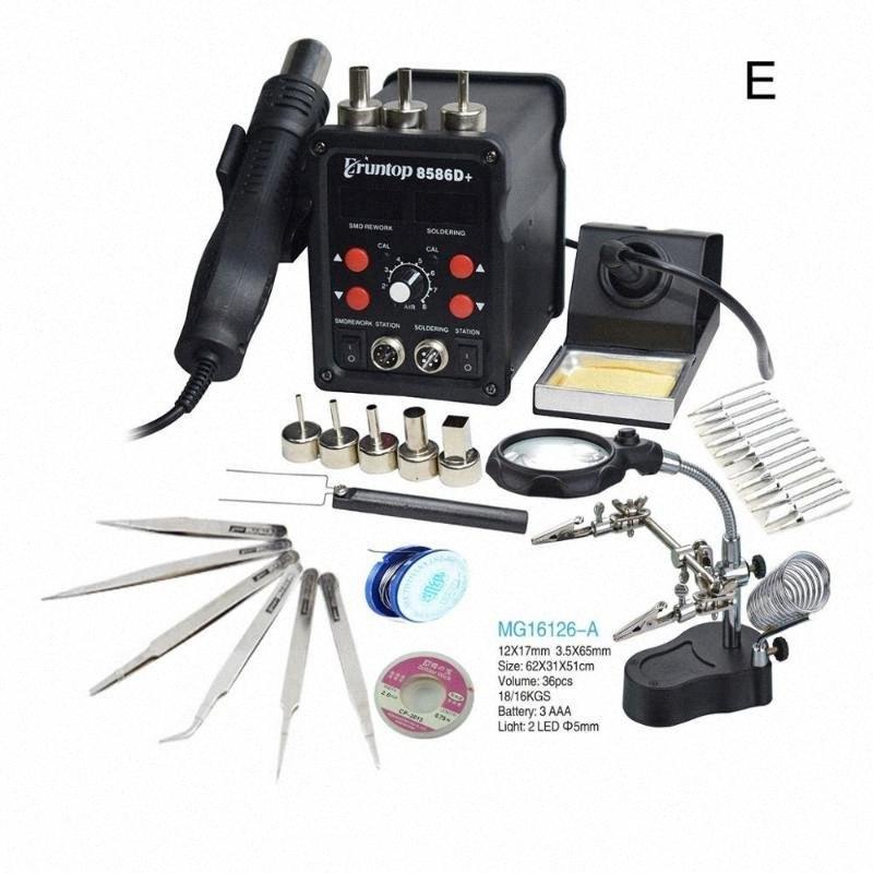 Pantalla Eruntop 8586D + Digital Doble 2en1 estación de la reanudación de la soldadura eléctrica Irons + Pistola de aire caliente SMD 8586 actualizado 8586D jJQM #