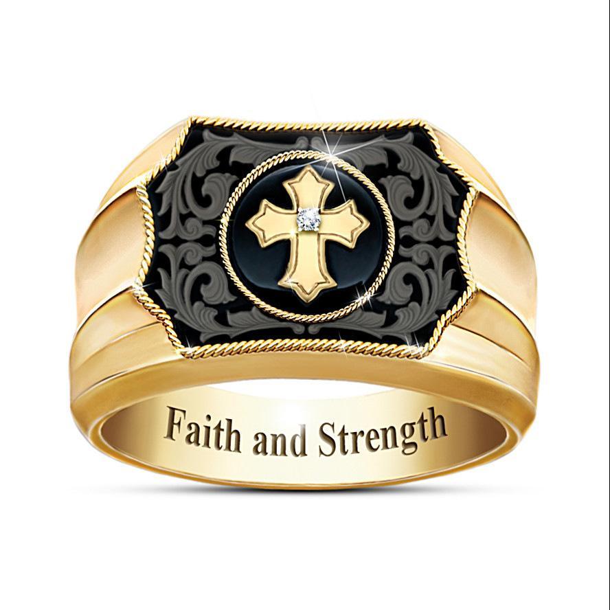 Sanjie творческого 18K цвета имитация черный агат крест Вера и власти мужчин кольцо