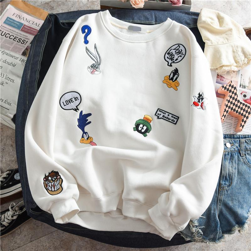 Ispessimento Fleeced Felpa Donna Autunno Inverno caldo pullover del cotone cappotto femminile del fumetto ricamo Fleece Jacket Outerwear T200729