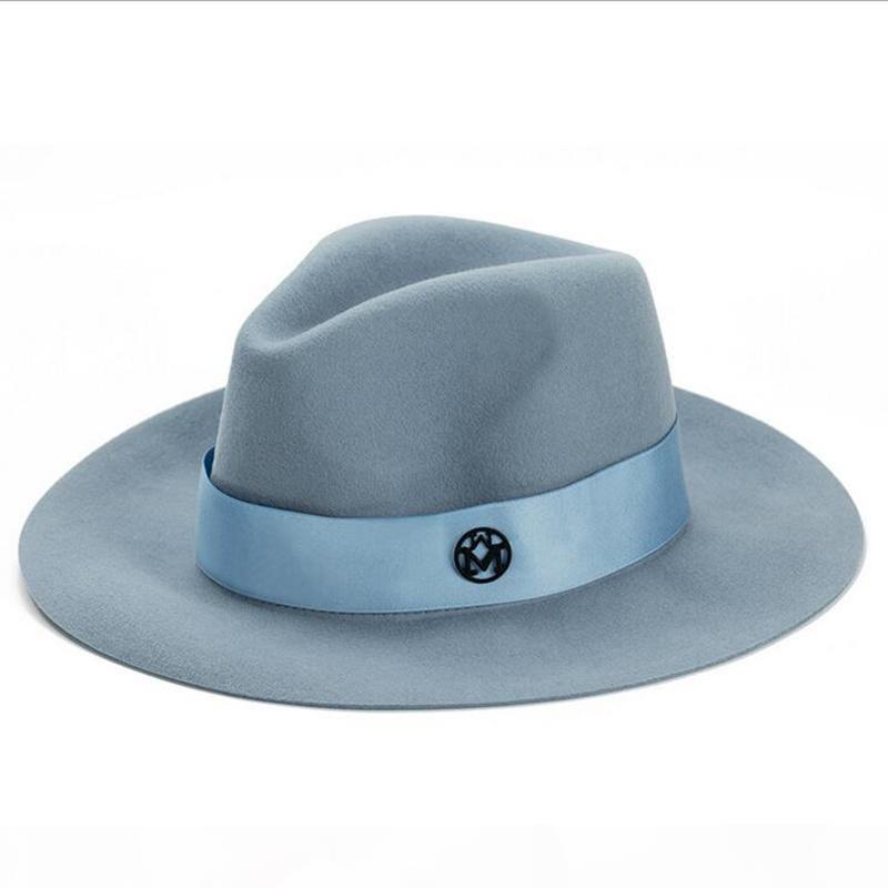 Signore di lana cappello rosa feodra inverno delle donne di M lettera lana Jazz fedoras cappello rosa per le donne grande cowboy all'orlo panama fedora