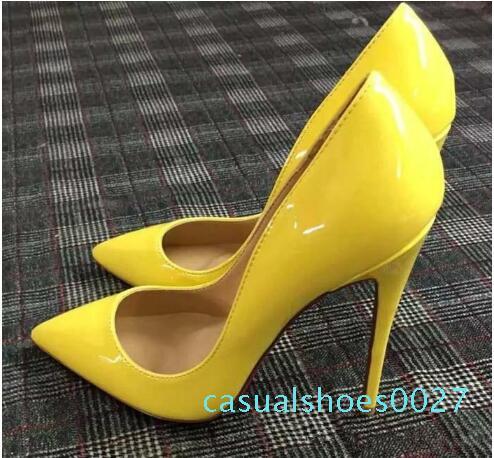 Ücretsiz Kargo Yani Kate Stiller Yüksek Topuklar Ayakkabı Kırmızı Alt Çıplak Gerçek Deri Noktası Burun Kauçuk Düğün Ayakkabı C27 pompaları