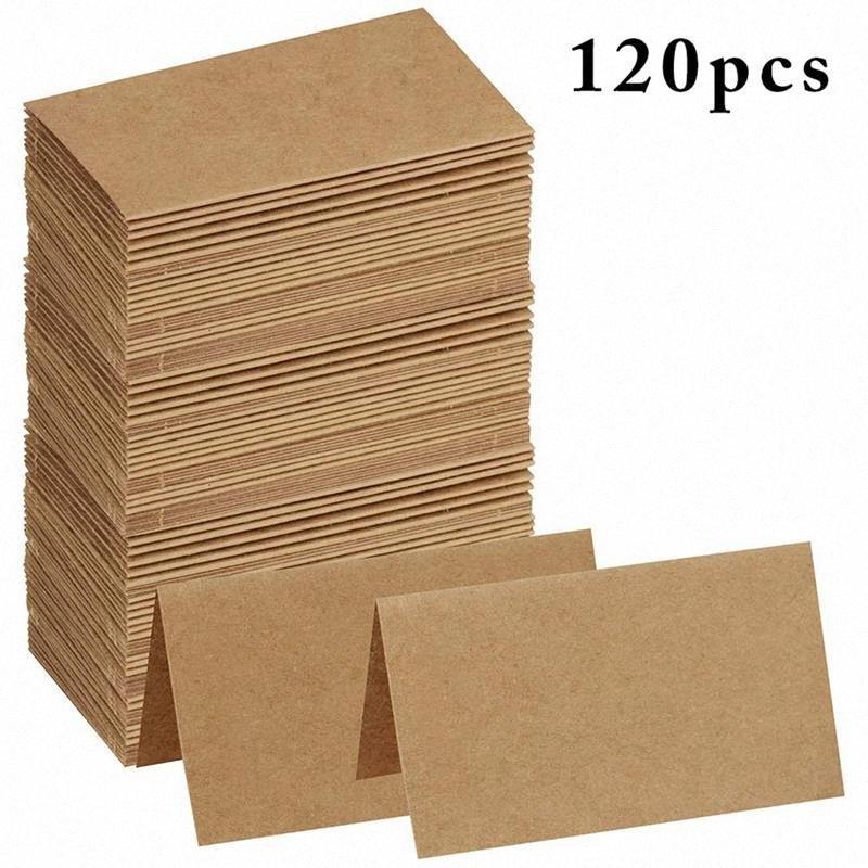 120pcs Vintage Blank Kraft papier Tableau Nombre Nom de la carte Lieu Cartes de mariage fête d'anniversaire de mariage Décoration Invitations v4de #