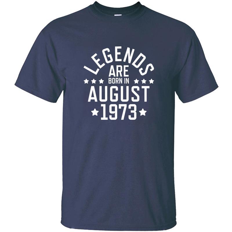 Imprimer Légendes sont nés en août 1973 T-shirt pour les hommes de coton tenue O-Neck base solide T-shirts 2020 Camisetas T-Tops