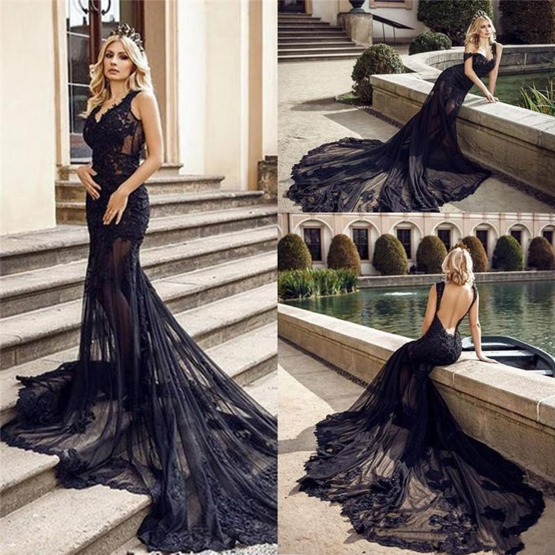 Charming Black Lace Mermaid Evening Dresses Sexy See Through Tulle Long Vintage Bridal Gown Lace Appliques V Neck Open Back Vestidos