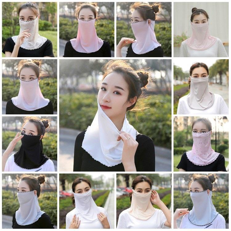 Горячие Женщины вуали шарфа маска для лица льда шелковой маски женской ухи воротника езды маска доказательства песка лицо полотенце и дизайнерские Маски T2I51228