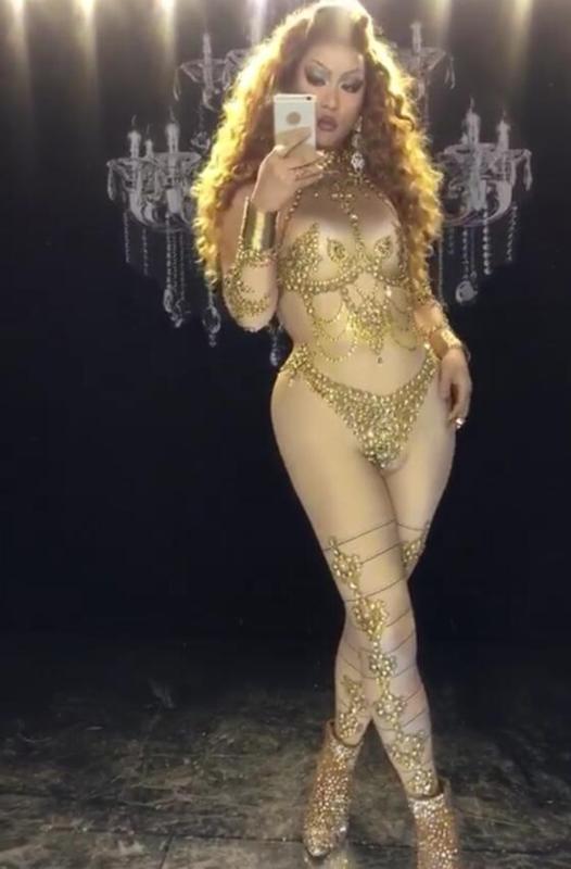 Desgaste de la etapa desnuda oro Piedras atractivo del mono de diamantes de imitación Estiramiento grande del mono nocturno Mujeres espectáculo de danza del partido de baile una sola pieza atractivo