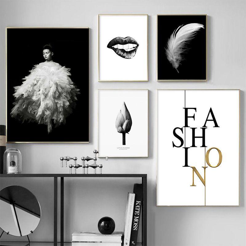 Black Lips Siyah Beyaz Duvar Resmi Salon Modern Ev Dekorasyonu Boyama Moda Kız Tuval Sanat Posterler ve Baskılar Tüy