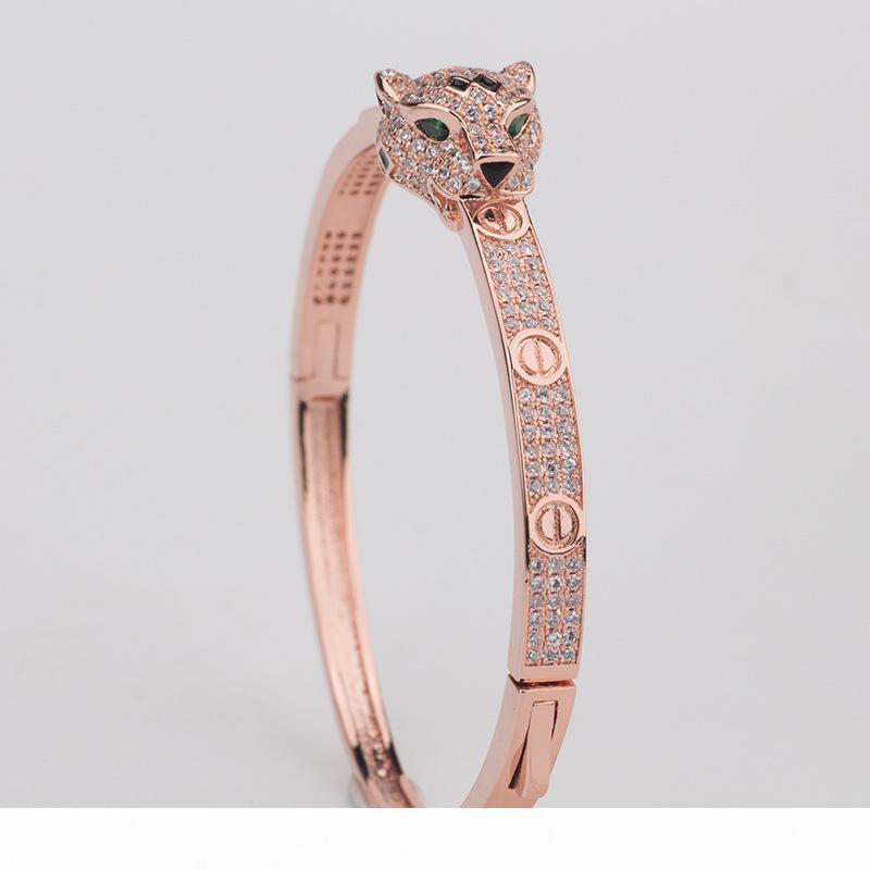 Animal Алмазного браслет Женского Leopard Глава браслеты Женщина Vintage Подвеска День Святого Валентин изящные ювелирные изделия на продажу