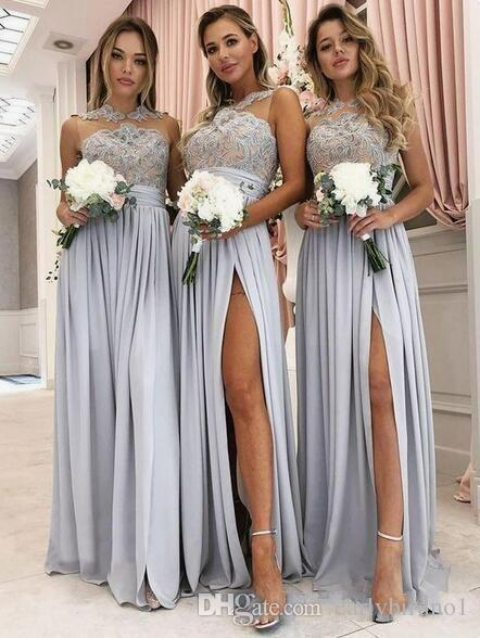 2020 Silver Lace Appliqued Bridesmaid Dress Cheap Long Formal Party Evening Prom Dress Wedding Party Guest Maid of Honor Gown
