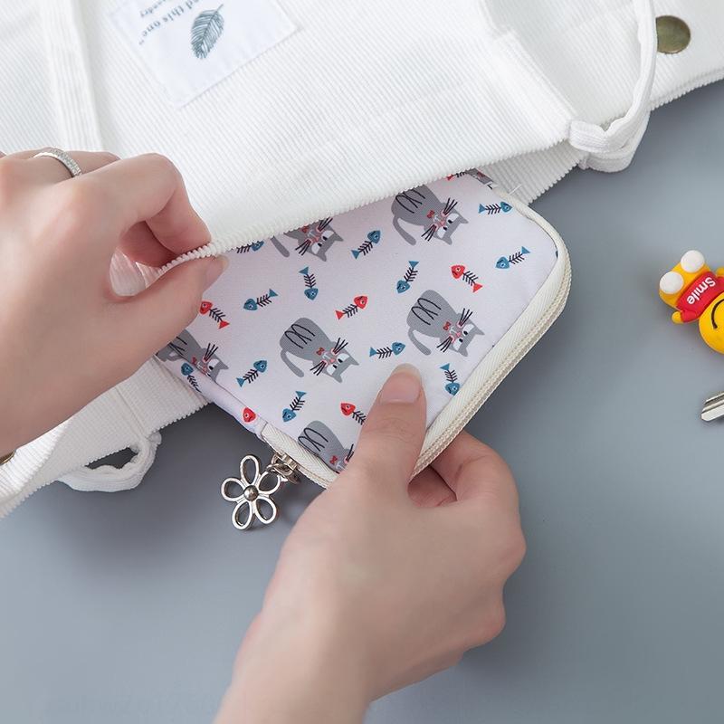 Neue Reißverschluss kleine Blume Leinwand hipster Münzfach niedliche Cartoon-Muster mit großer Kapazität Karte bagCanvas Aufbewahrungstasche Schlüsselaufbewahrungstasche