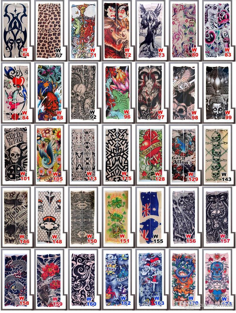 Wholesale Multi style 100% Nylon elastic Fake temporary tattoo sleeve designs body Arm stockings tatoo for cool men women DHL Free shipping