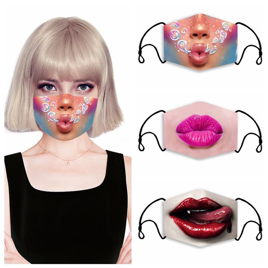 Маски 3D Printing Cotton Face Adult Детского РМ2,5 Фильтр маска для лица пыла многоразовые Открытые дышащего маска DDA246