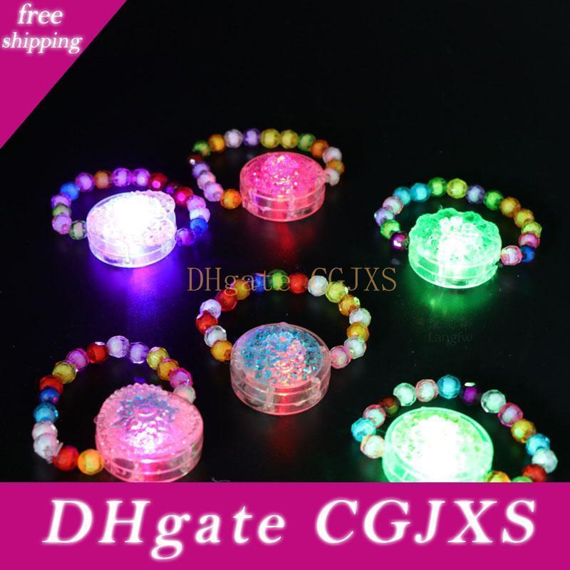 2017 Kids Cute Light Up Wristband Flashing Bangle Bead Led Bracelet Dress Party Glow Bangel Halloween Zj0400