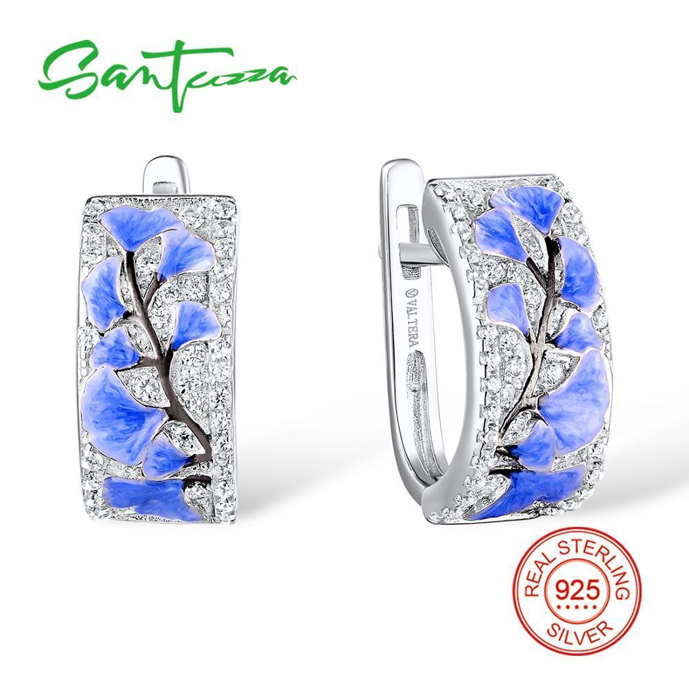 SANTUZZA Boucles d'oreilles argent pour les femmes pur argent 925 fleur bleue Sparkling cubique Bijoux brincos zircons main émail CX200803