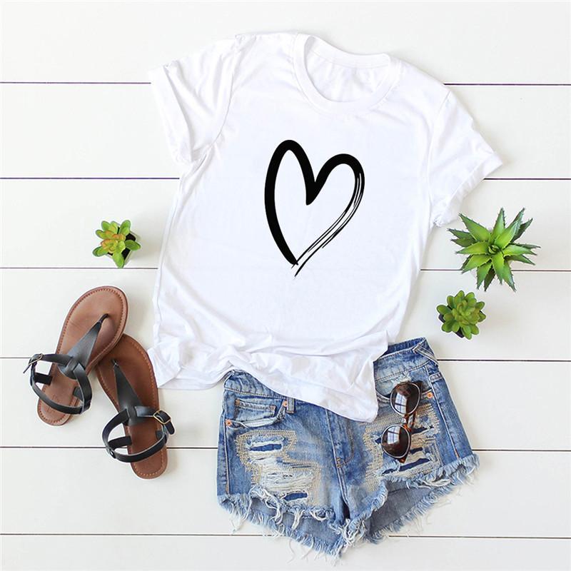 Plus Size 2020 Harajuku Doux nouveau coeur Imprimer T-shirt en coton femmes O manches courtes d'été Vintage Tops Femmes Casual T-shirts