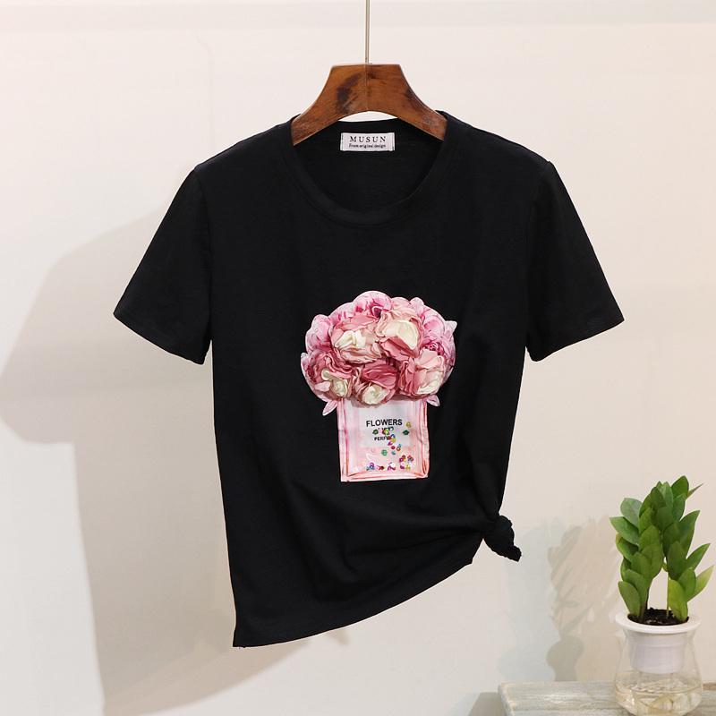 2019 Mulheres Primavera-Verão T camisa de manga curta 3d Garrafa Floral T-shirt Cotton Tops Y19072601