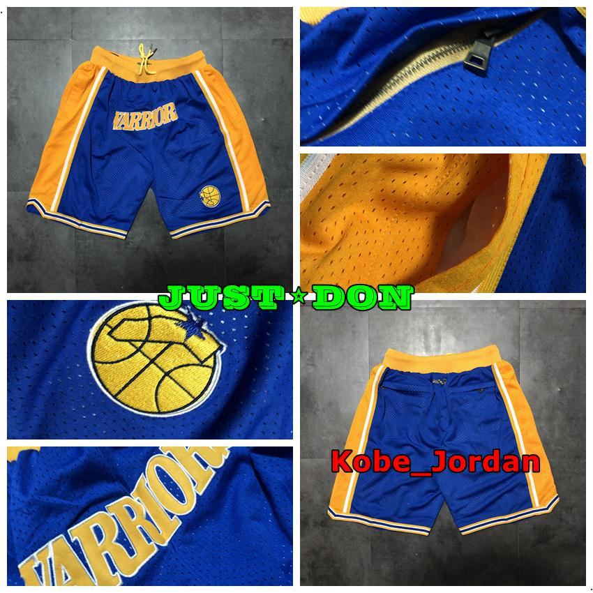 2020 Мужская JUST ДОН Карманный Баскетбол шорты прошитой 1995-96 синий Карманный Голден СтэйтВоиныШорты Подкладка Mesh Спорт Sweatpants