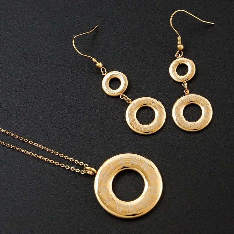 Mode Bijoux Ensemble Bijoux Ensemble collier en acier inoxydable Roman Numéro Boucles d'oreilles en or Femmes Sets pour soirée de mariage cadeau 3YwC #