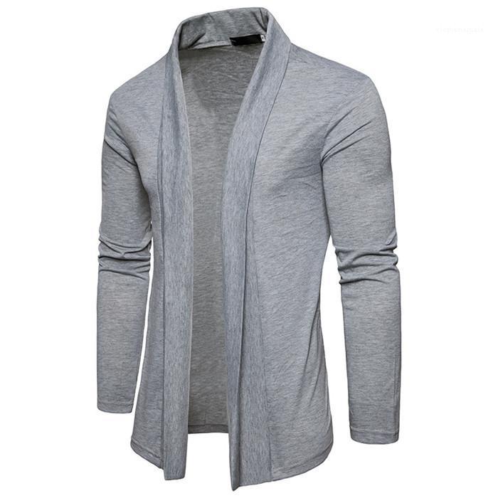 Homens Moda Casaul Outwears Mens Sólidos manga comprida Cardigan Homem Primavera lapela do pescoço solto Casacos longos