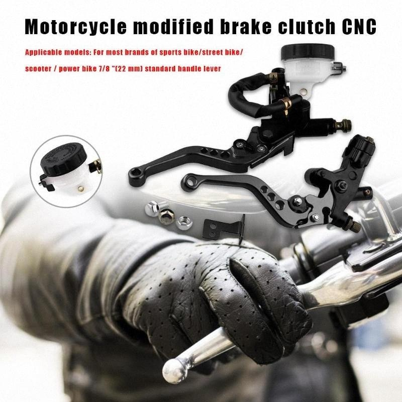 CNC 22mm 7/8 Motorcycle Front Brake Clutch Levers+Master Cylinder Reservoir Set Black Red Gold Blue Green and Silver YnKJ#