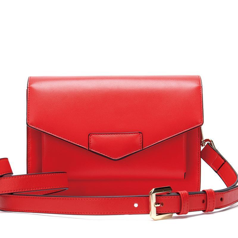Цвет 2020 Кожа Корейский мешок Квадратные Женщины Красный Сплошной Простой Конверт Женский Рышковый Лето Сумка Малая Мода Ириуэ
