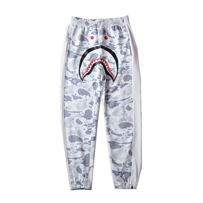 New Arrival Men's Black White Luminous Casual Pants Men's Casual Personality Loose Long Pants Sizes M-2XL
