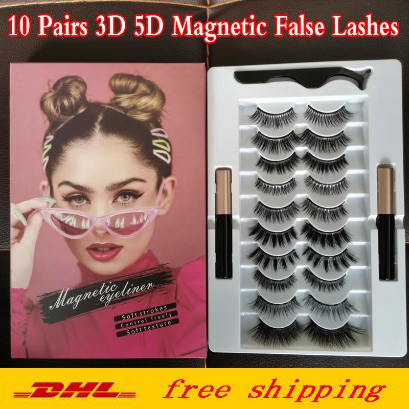 Cils magnétiques Kit Eyeliner liquide magnétique avec pincettes 10 paires améliorées 5D Magnetic Faux Lashes Naturel Réutilisable Aucune colle nécessaire