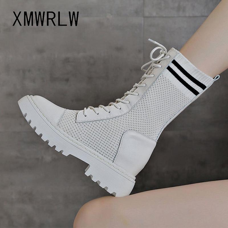 XMWRLW Kadın Orta Buzağı Boots 2020 İlkbahar Sonbahar Örme Yün Kadın Ayakkabı Moda Gizli Topuk Bayanlar Boots Kadın Sonbahar Ayakkabı