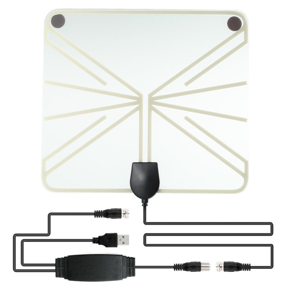 Amplified HDTV-Antenne 50 Miles Bereich Digital-Innen-Fernseh 1080P HD Antennen-Signal-Verstärker Booster Transparant Stil