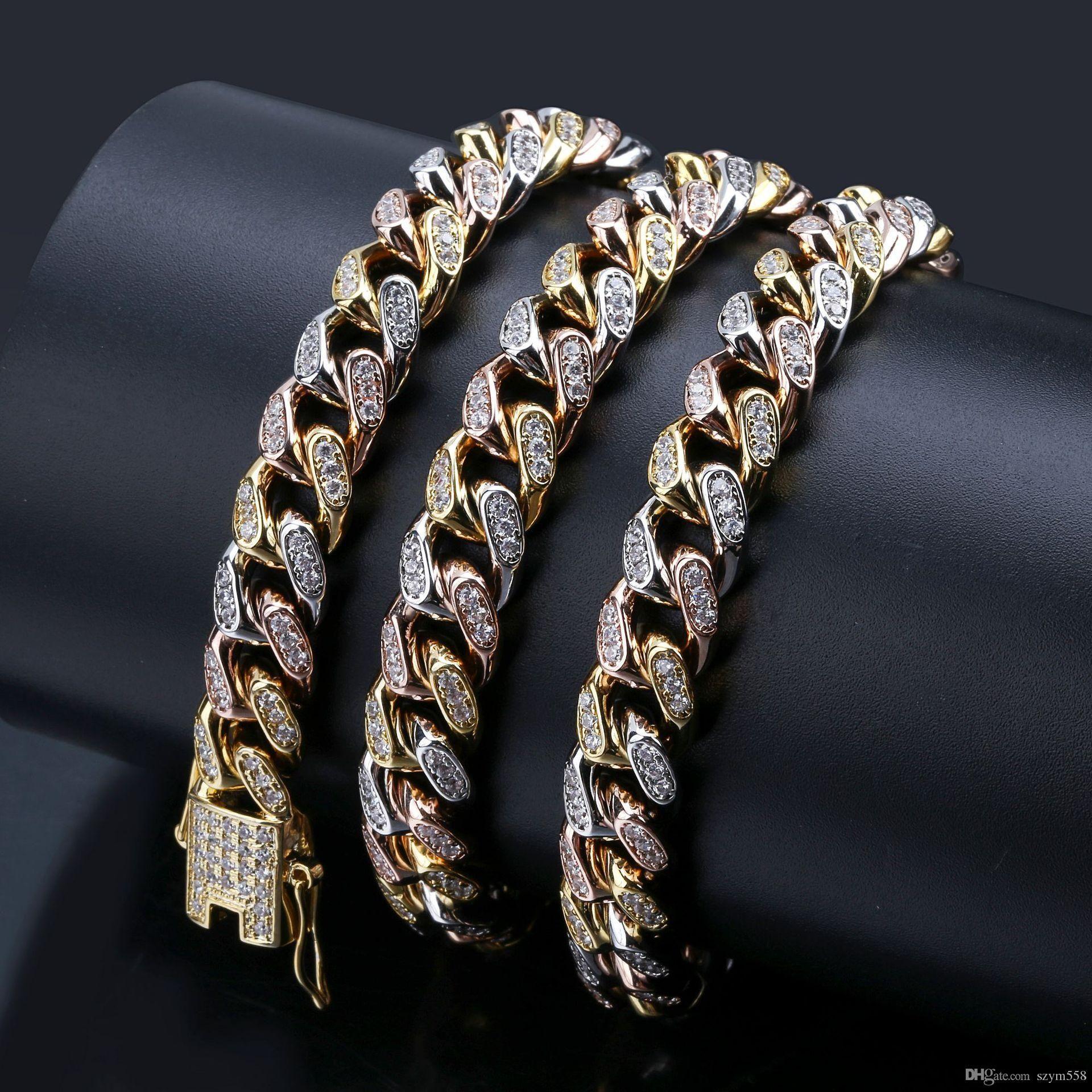 Catene ghiacciate Hip Hop Jewellery full Diamond Collana con diamante full micro cubico zirconia in rame set con diamanti 18 carati in oro placcatura catena cuba 3 colori