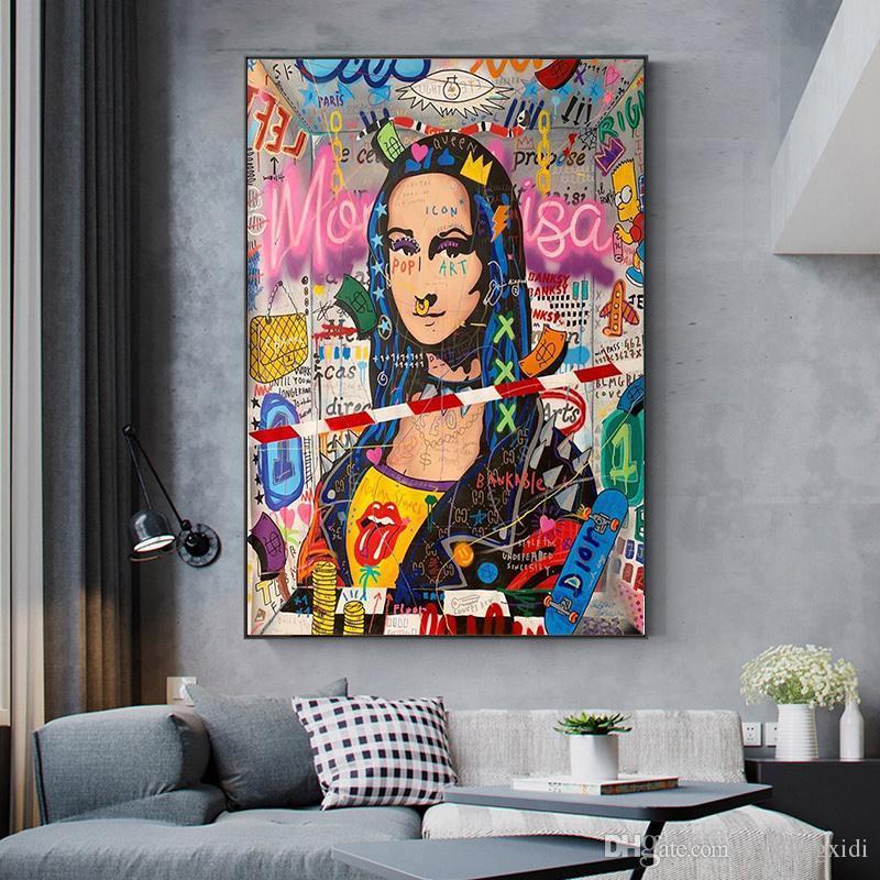 Graffiti Art moderne Mona Lisa drôle peinture de toile affiches et impressions Wall Art pour le salon Home Decor (No Frame)
