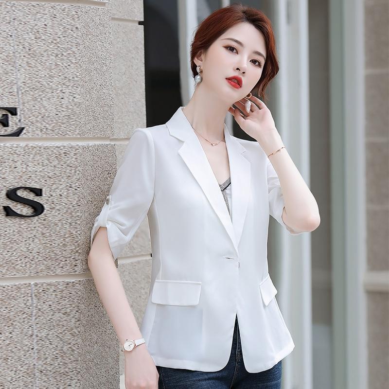 Chaqueta blanca de la celebridad de juego pequeño ajuste fino de manga corta de las mujeres de Internet delgada recortada verano pequeña chaqueta de traje de gasa IkYp8