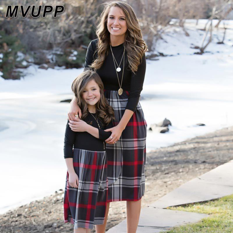 plaid mother daughter dresses for mommy and me matching clothes family look outfits girl dress vintage long mom christmas Y200713
