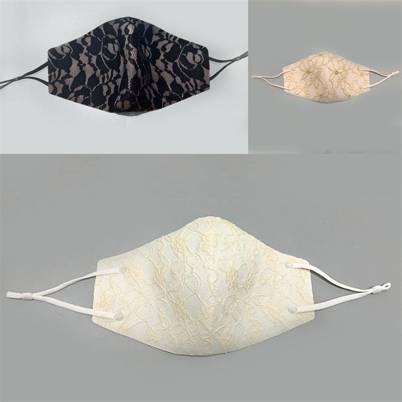 Colgando del oído patrón de tipo de encaje Mascarilla Protección Reciclaje boca del respirador del polvo anti mascarilla de manera de la mujer Ejercicio encargo 4 5hs B2