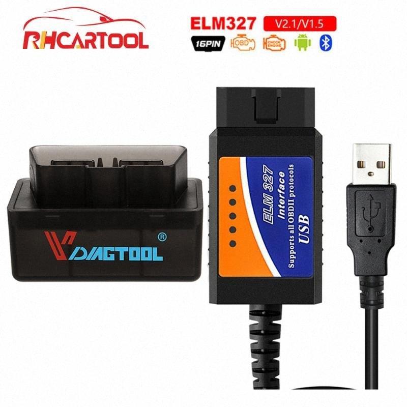 OBD2 ELM327 Bluetooth USB V1.5 Car Diagnostic USB Cable Interface Supports All OBD2 Protocols For Window ELM 327 OBD Scanner OayQ#