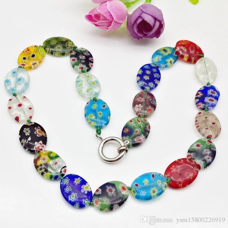 Free Shipping Wholesale 3Pcs Fashion Oval Millefiori Lampwork Murano Glass Necklace,Fashion Necklace