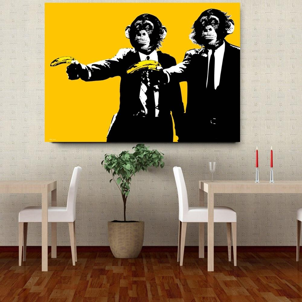 Funny Monkey Holding A Banana Oil Painting on Canvas Creative Top Idea Poster Prints Wall Art Pictures for Living Room Home Decor