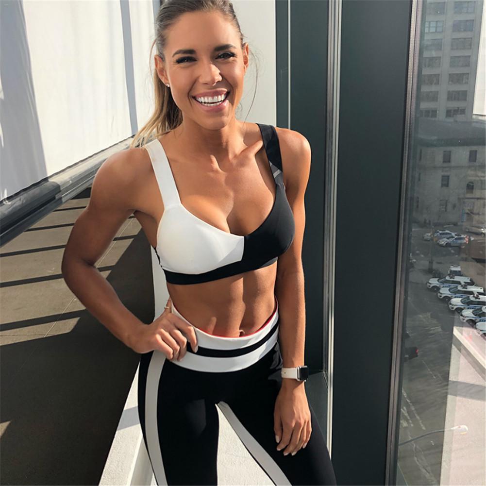 Yoga Sport traje Mujeres de la gimnasia ropa de la aptitud Running White Patchwork chándal Negro sujetador de los deportes + Sport polainas de 2 pedazos CT10