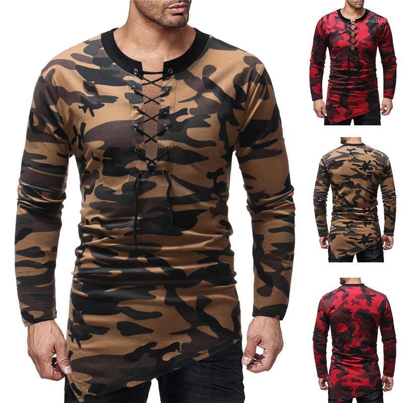 Kol O-Boyun Tees Moda Doğal Renk Erkek Tees Erkek Casual tişörtleri Tasarımcı Kamuflaj İpli Tshirts Uzun