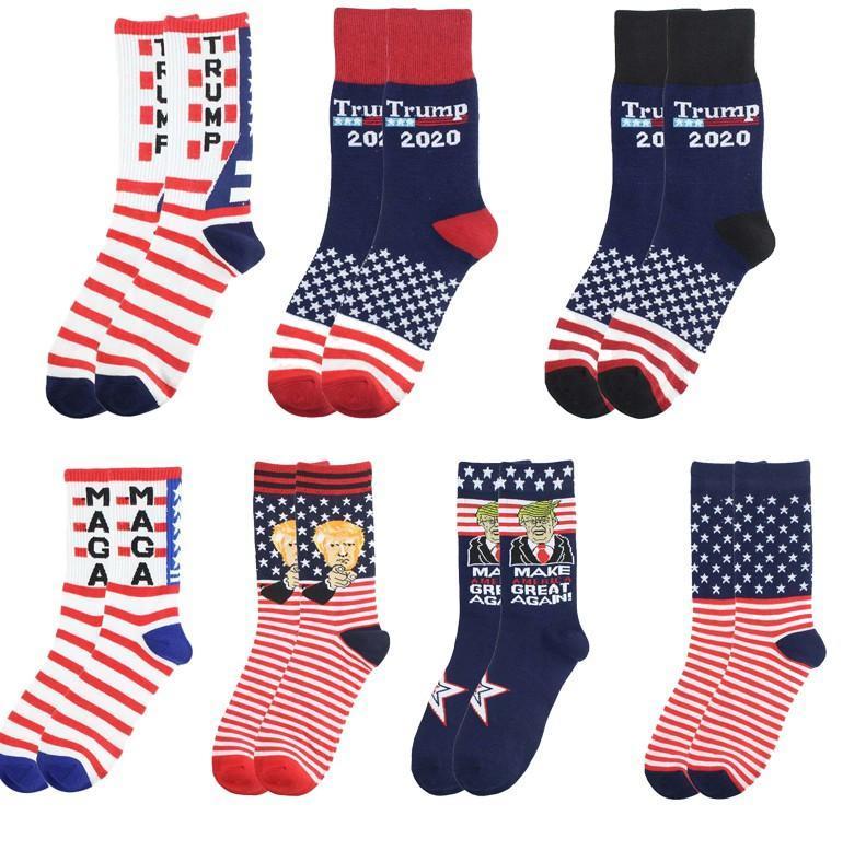 Творческие Trump носки сделать Америка Великий Снова национальный флаг Звезды Stripes чулки Смешные Женщины Повседневная Мужчины Хлопок носки Бесплатная доставка DHD263