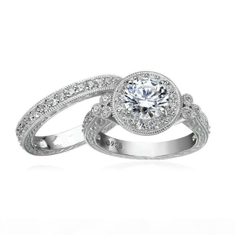 Größe 5 6 7 8 9 10 Vintage-Schmuck-Rundschnitt-925 Sterlingsilber-Weiß Topaz CZ-Diamant-Edelstein-Hochzeits-Verpflichtungs Brautring-Set Geschenk