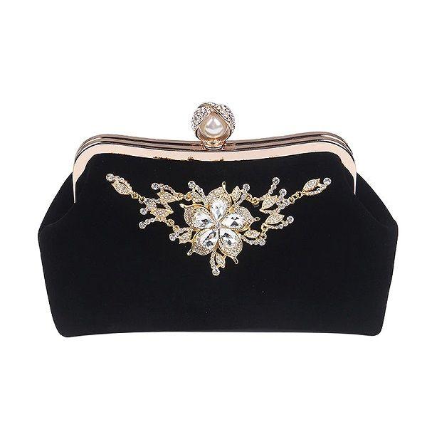 Female Diamond Pearl Handbag Vintage Crystal Flower Evening Bag Wedding Party Bride Clutch Bag Purse Beautiful Evening Bag For Women