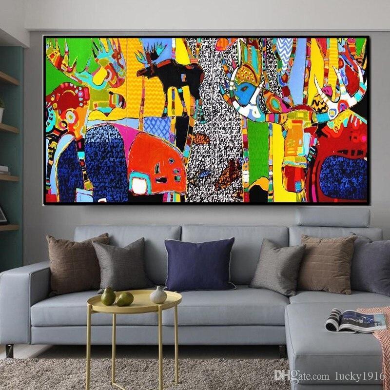 Çocuk Odası Modern Ev Dekorasyon Duvar Resimleri Boyama Büyük Beden Posterler Baskılar Soyut Wall Art Karikatür Hayvan Tuval Yağı
