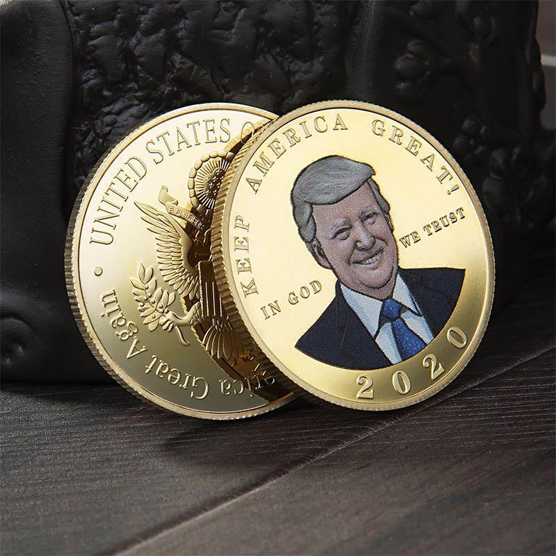 Новый спот президент США Trump Gold Medal 2020 Избирательные Поставки Trump Цветная печать Металл Памятная монета DHC687