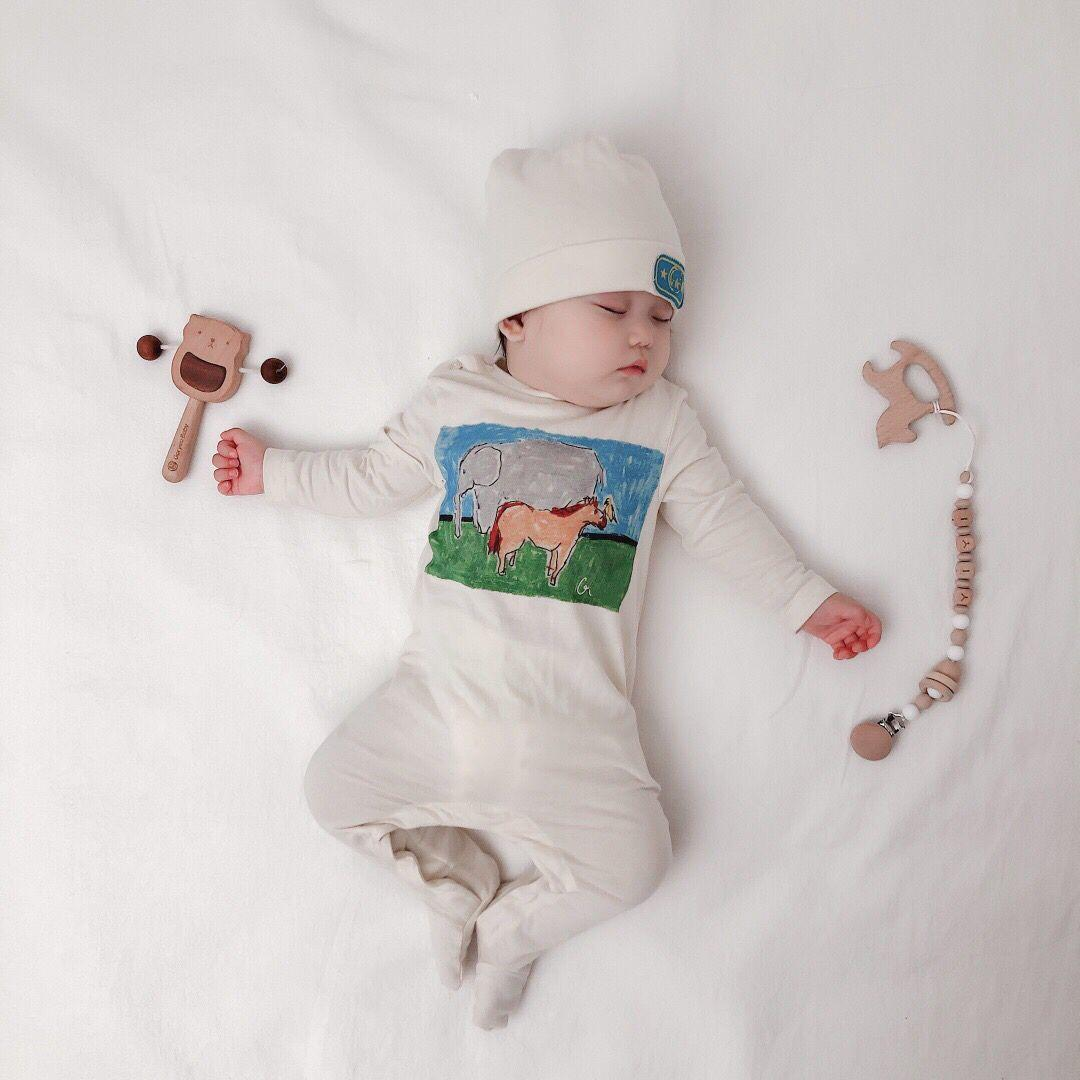 2020 Baby Spring Autumn Clothing Newborn Kid Baby Girl Boy Romper Clothes Long Sleeve Print Jumpsuit Hat Autumn Outfit with box