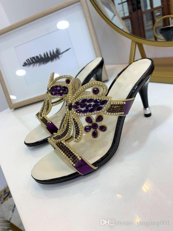 Дамы сексуальный острым носом на высоких каблуках женщины насосы лакированные туфли Заклепки Stilettos сандалии партии обувь rx19041501