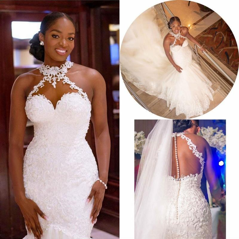 2020 abiti arabo Aso Ebi merletto dell'annata bordato i vestiti da sposa pura della sirena del collo abiti da sposa sexy sposa economici